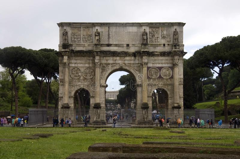 Arch of Constantine Rome Italy Colosseum Palatine hill forum royalty free stock photography