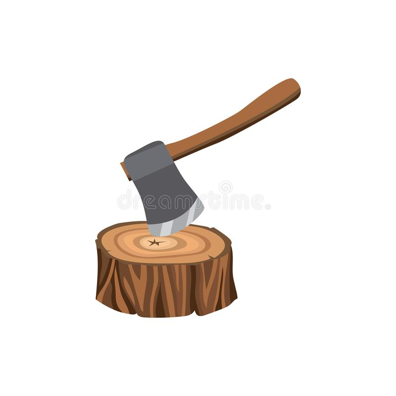 Free Symbol And Icon Of A Forest Stump With An Ax, Logging Tree. Royalty Free Stock Image - 156726656