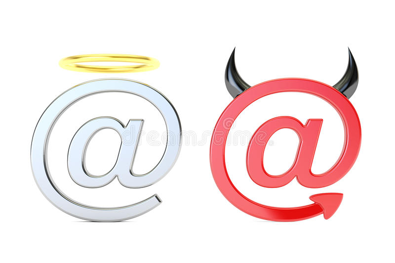 At symbol angel and demon, mail concept. 3D rendering royalty free illustration