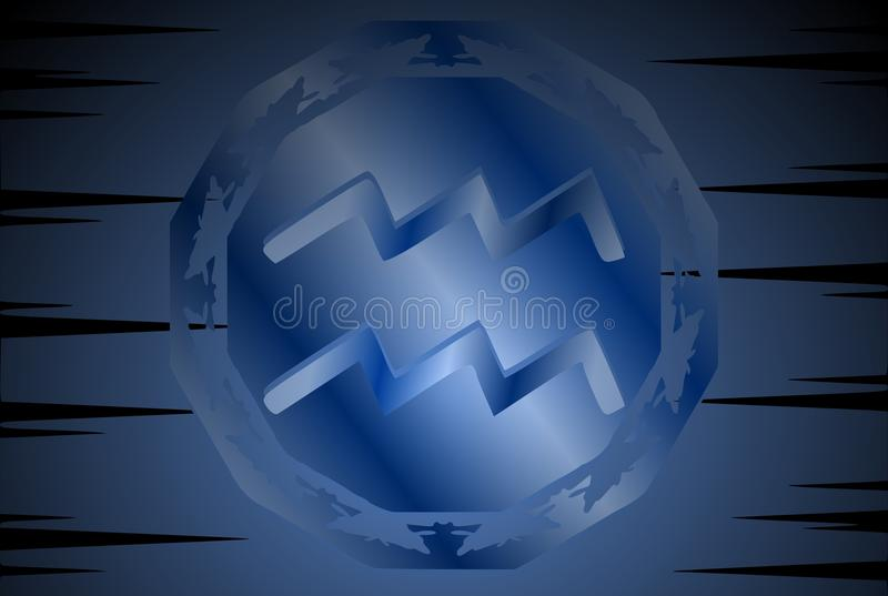 Symbol of Aquarium sign on background. Image representing the symbol of aquarius zodiac sign planet on a background. An image that can be used in different stock illustration