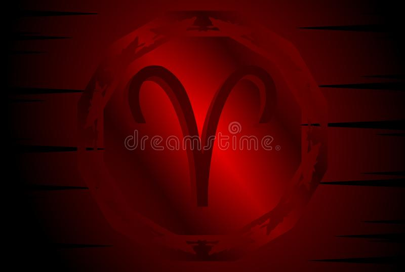 Symbol of Aries sign on background. Image representing the symbol of ram zodiac sign planet on a background. An image that can be used in different projects, not vector illustration