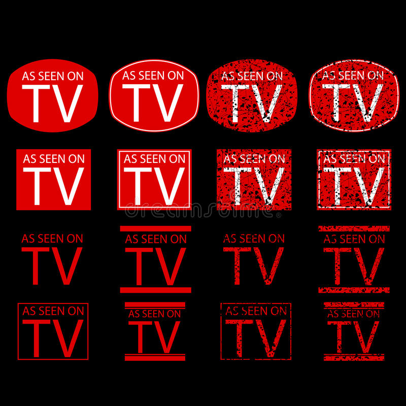 Symbol of As Seen on TV, red at black background. Vector symbol of As Seen on TV, red at black background vector illustration