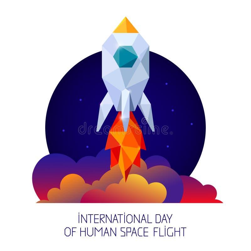 Symbol astronautyczna rakieta i niebo royalty ilustracja