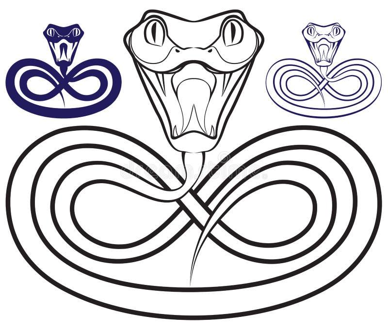 Symbol av året - en orm. Öppna venomous käkar vektor illustrationer
