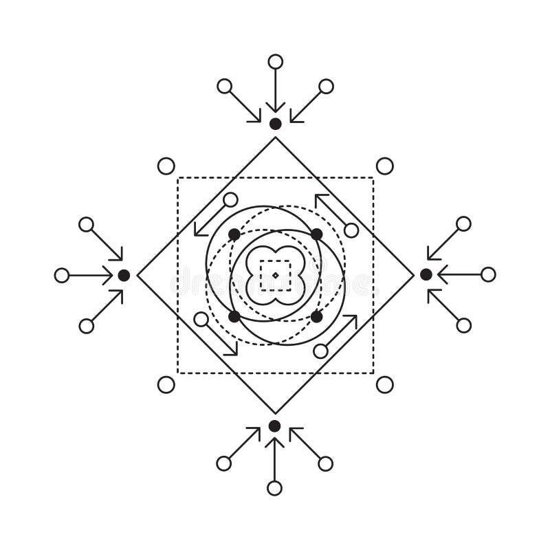 Symbol av alkemi och sakral geometri Den linjära teckenillustrationen för linjer tatuering på viten isolerade bakgrund royaltyfri illustrationer