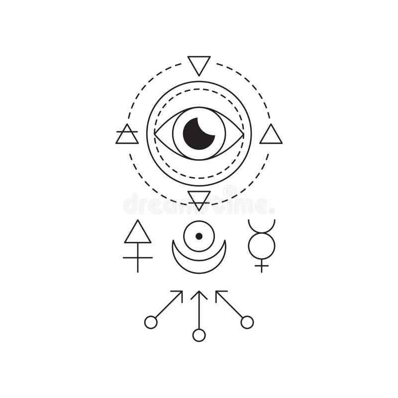 Symbol Av Alkemi Och Sakral Geometri Den Linjära ...