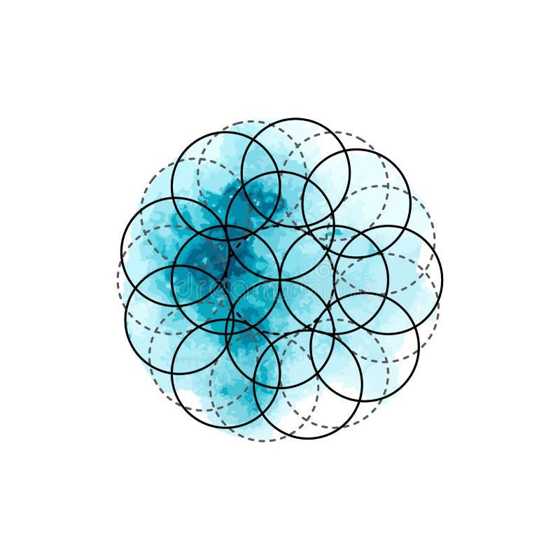 Symbol av alkemi och sakral geometri på den blåa vattenfärgbakgrunden vektor illustrationer