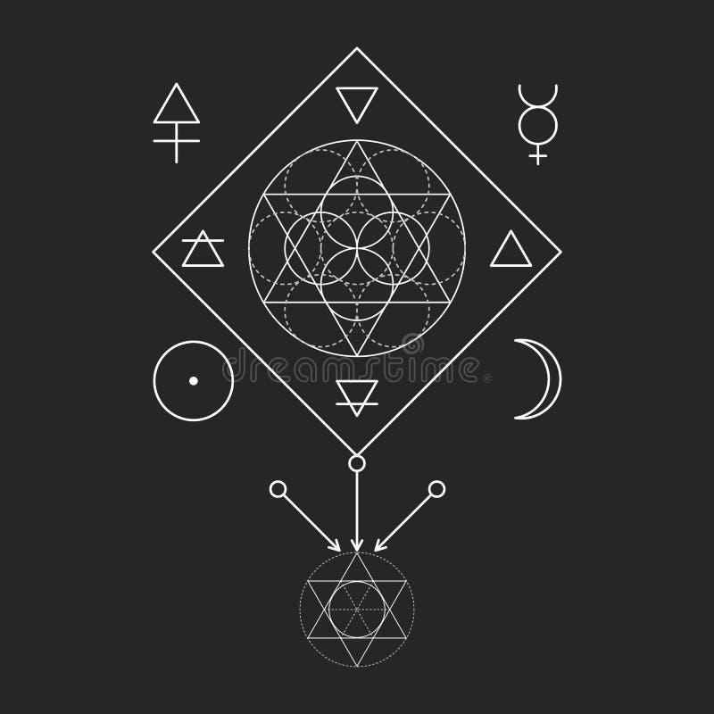 Symbol av alkemi och sakral geometri Tre början: ande, anda, kropp och 4 grundläggande beståndsdelar: Jord vatten, luft, brand vektor illustrationer