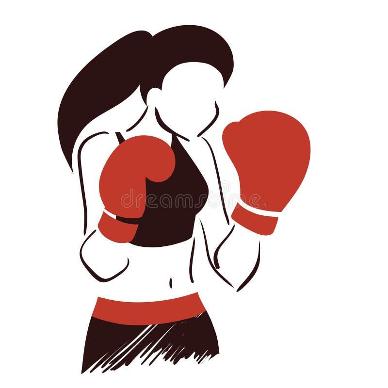 Symbol av boxningkvinnan vektor illustrationer