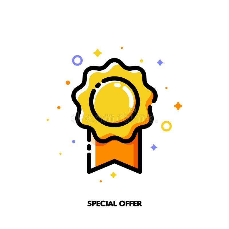 Symbol av den eleganta rosetten som symboliserar det speciala erbjudandet för pengar-besparing shoppingbegrepp L?genhet fylld ?ve vektor illustrationer