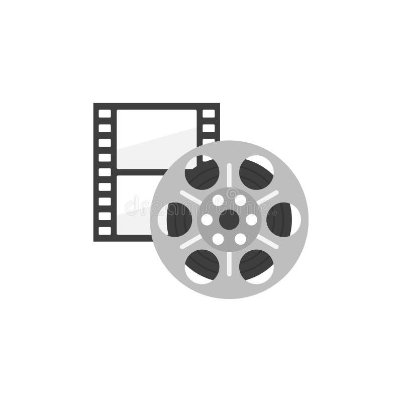 Symbol av den filmremsan och rullen i plan stil Biosymbolsuppsättning royaltyfri illustrationer