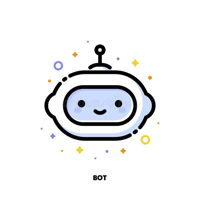 Symbol av den gulliga roboten som symboliserar konstgjord intelligens eller den faktiska assistenten för SEO-begrepp L?genhet fyl stock illustrationer