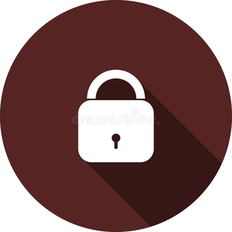 Symbol av den stängda hänglåset på en cirkel av rödbrun färg, vektorbild stock illustrationer