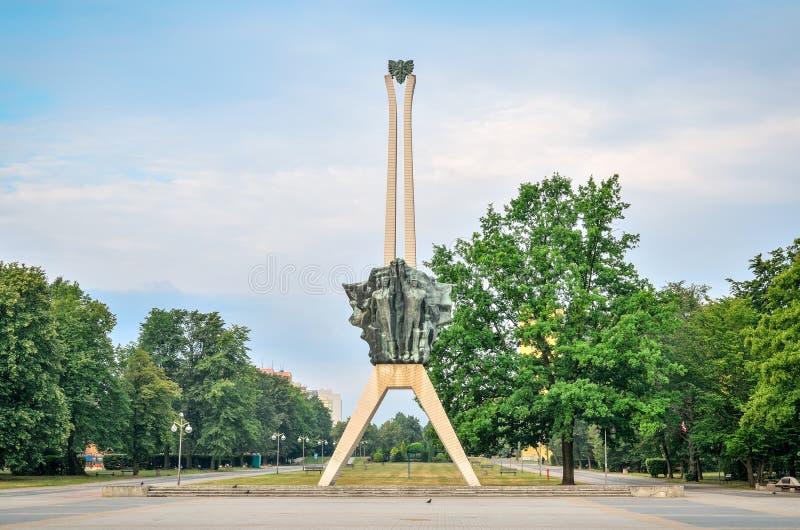 Symbol av den Tychy staden i Polen fotografering för bildbyråer