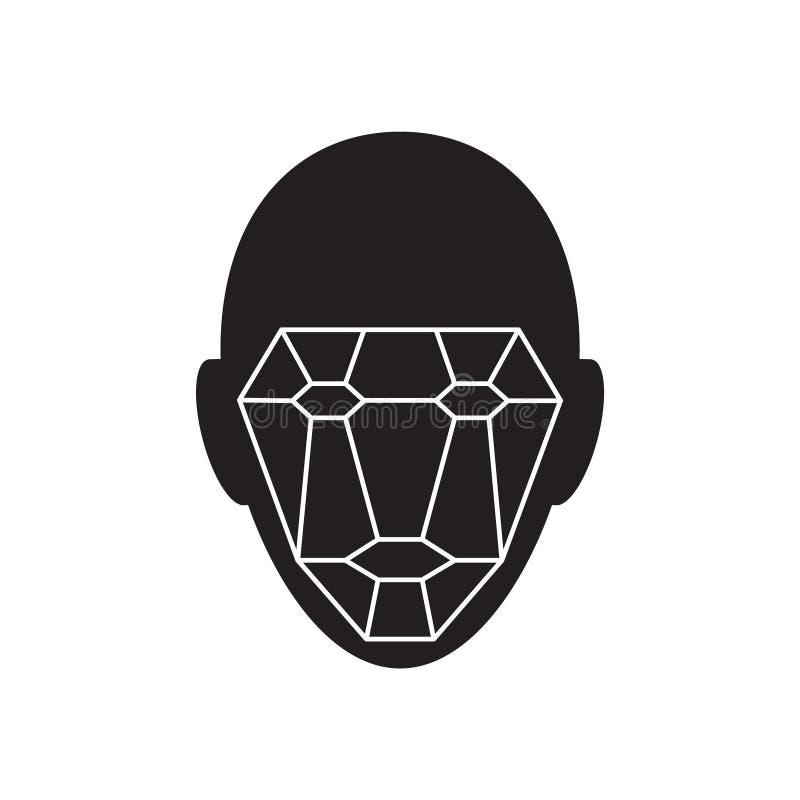 Symbol av det biometric verifikationstecknet f?r identitet System f?r framsidaerk?nnande Avl?sande symbol f?r rastertehnologyvekt vektor illustrationer