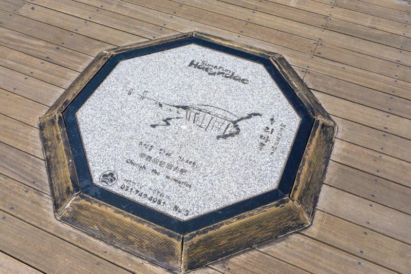 Symbol av det Nurimaru APEC-huset och den Gwangandaegyo bron på octago royaltyfri bild