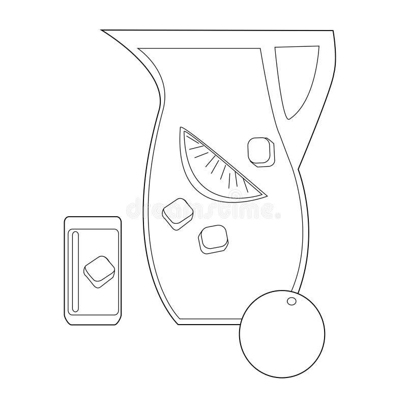 Symbol av drinkkannan med is- och citronskivan stock illustrationer