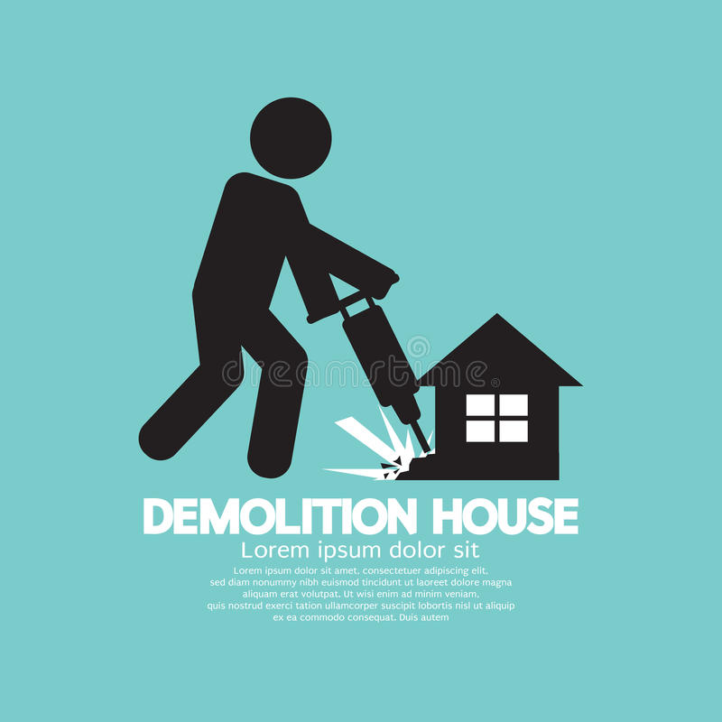 Symbol av en arbetare som använder drillborren för att demolera ett hus vektor illustrationer