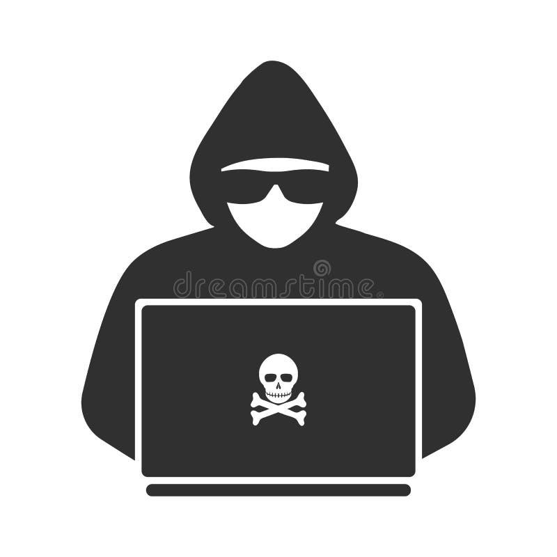 Symbol av en en hacker med en bärbar dator royaltyfri illustrationer