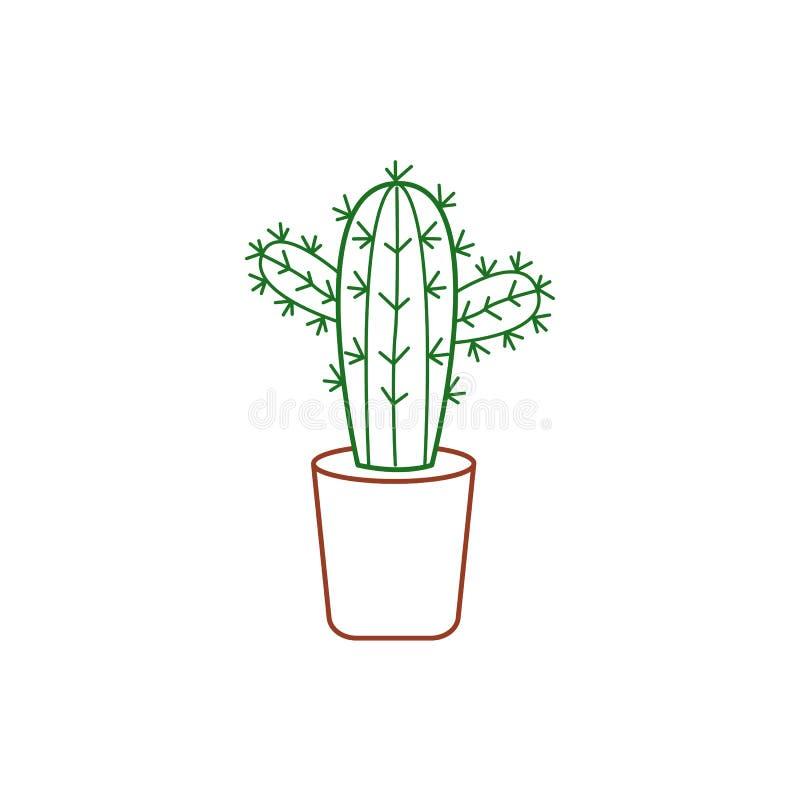 Symbol av en kaktus i en kruka också vektor för coreldrawillustration stock illustrationer