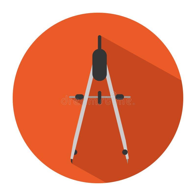 Symbol av en kompass i plan stil också vektor för coreldrawillustration royaltyfri illustrationer