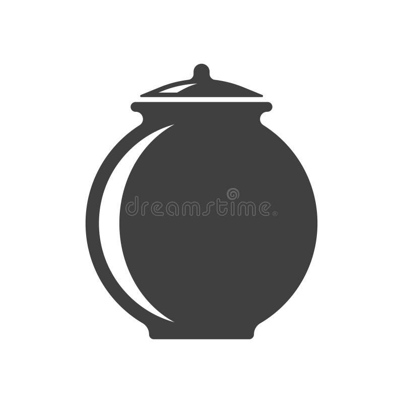 Symbol av en lerakruka Vektor på vit bakgrund royaltyfri illustrationer