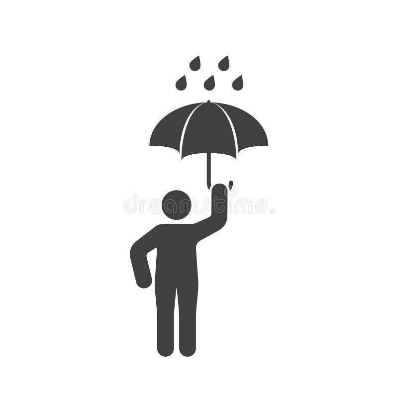 Symbol av en man med ett öppet paraply i regnet white för vektor för bakgrundsillustrationhaj vektor illustrationer
