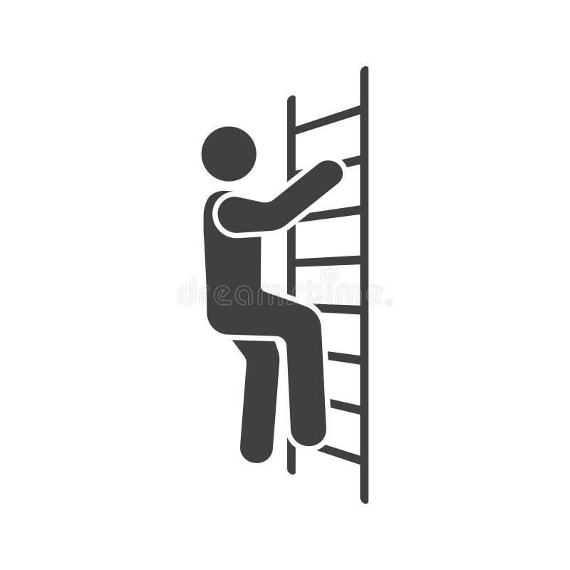 Symbol av en man som klättrar trappan white för vektor för bakgrundsillustrationhaj royaltyfri illustrationer