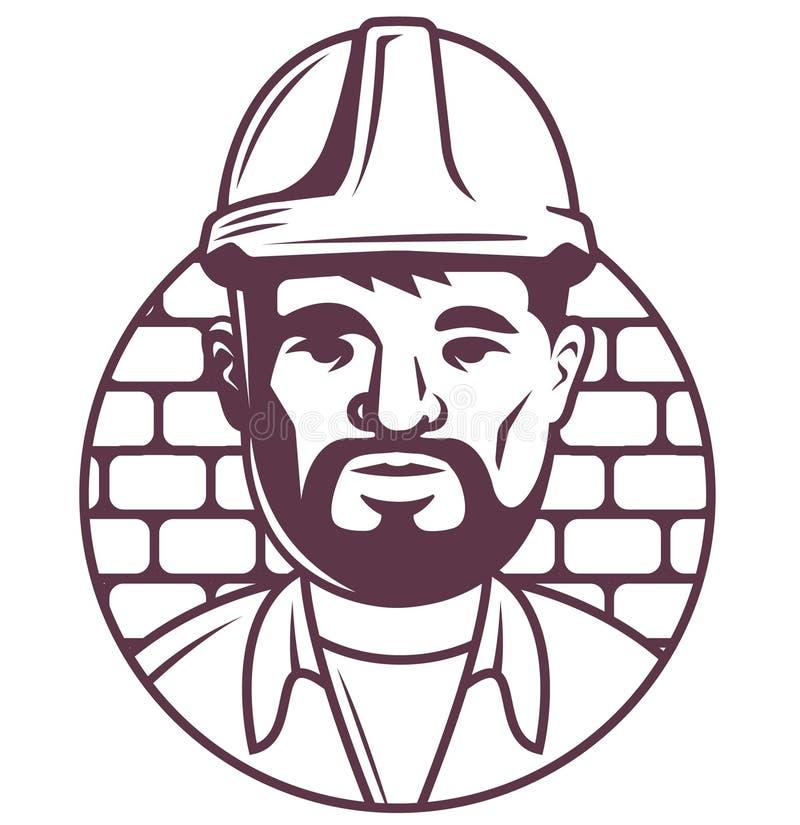 Symbol av en manlig byggm?stare eller ordf?rande i en hj?lm p? en tegelstenbakgrund tecken?versikt p? vit stock illustrationer