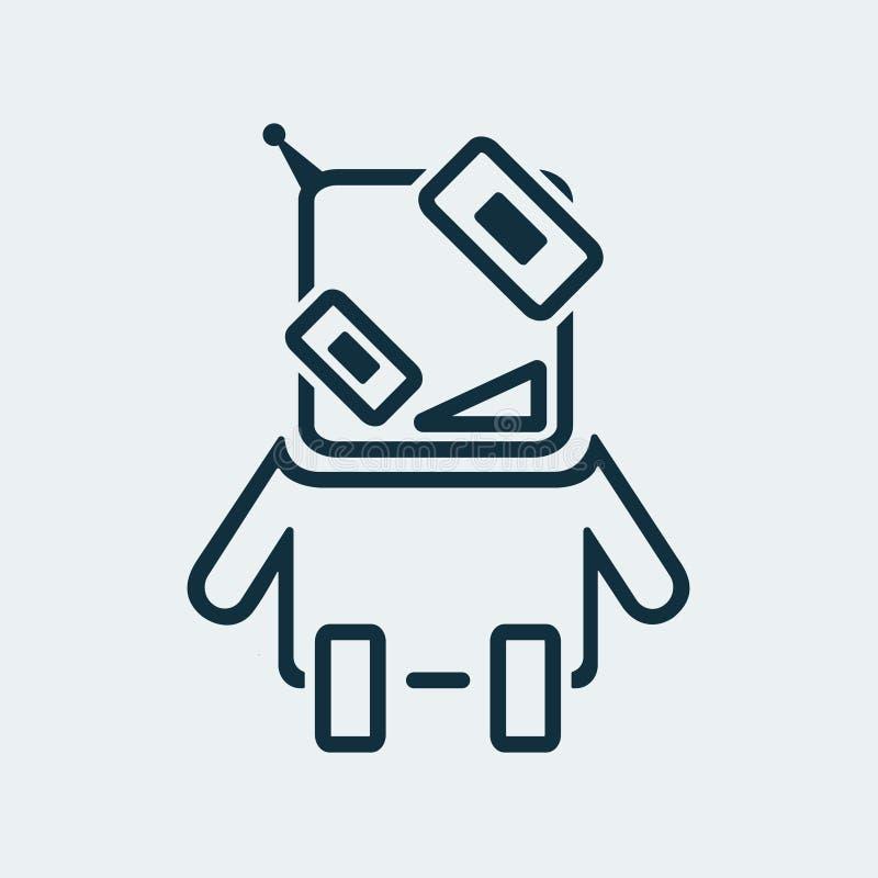 Symbol av en rolig robot i en linjär stil stock illustrationer