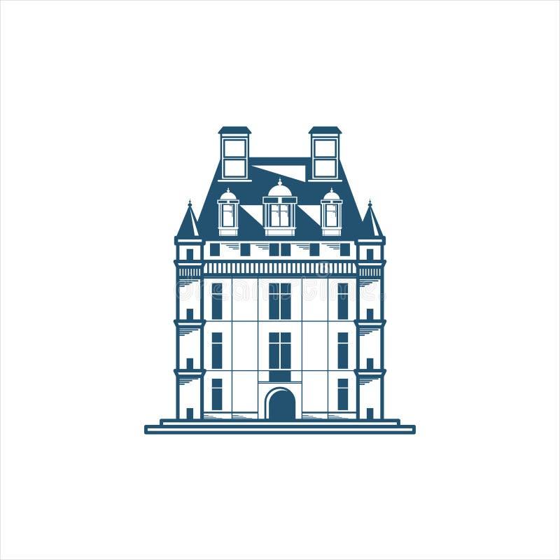 Symbol av en slottbyggnad royaltyfri illustrationer