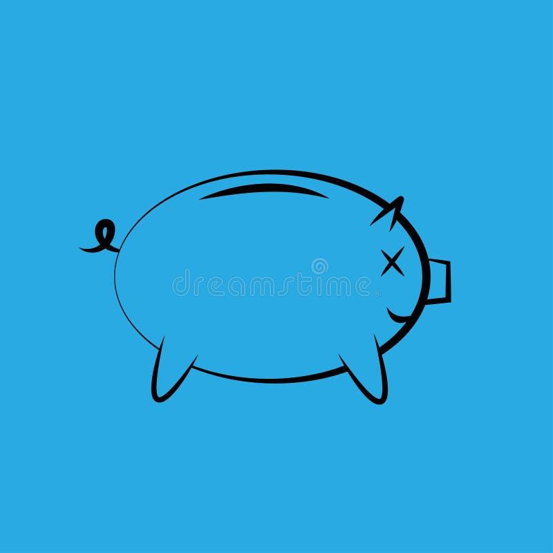 Symbol av en spargris för pengarbesparing stock illustrationer