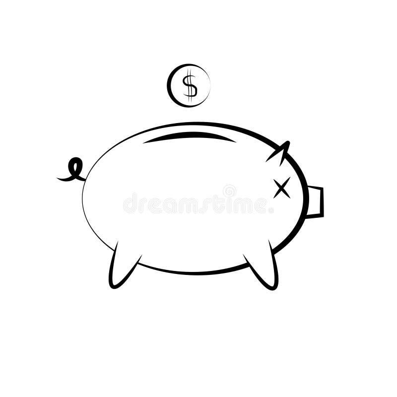 Symbol av en spargris för pengarbesparing royaltyfri illustrationer