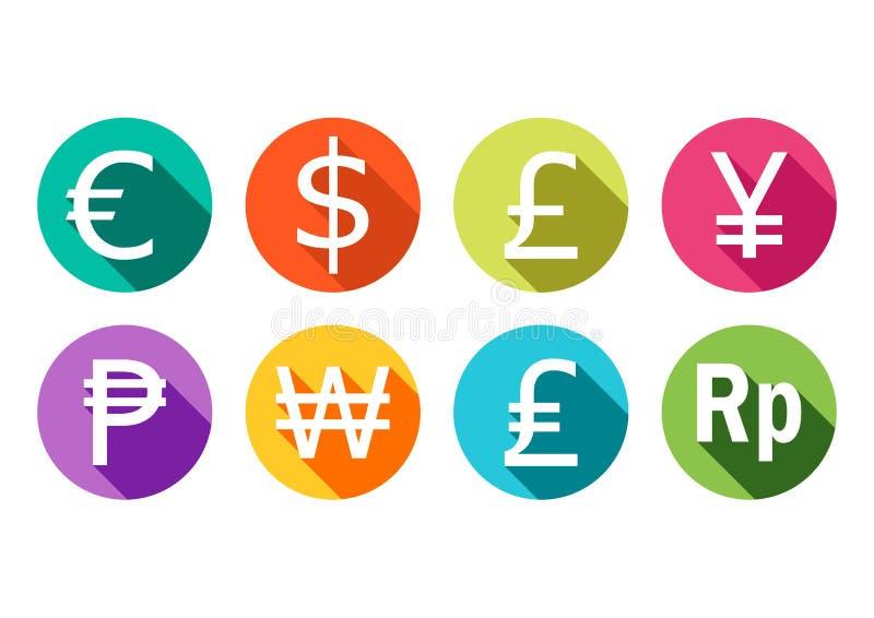 Symbol av euroet, dollaren, pundet, yen, rublet, segrat och rupien royaltyfri illustrationer