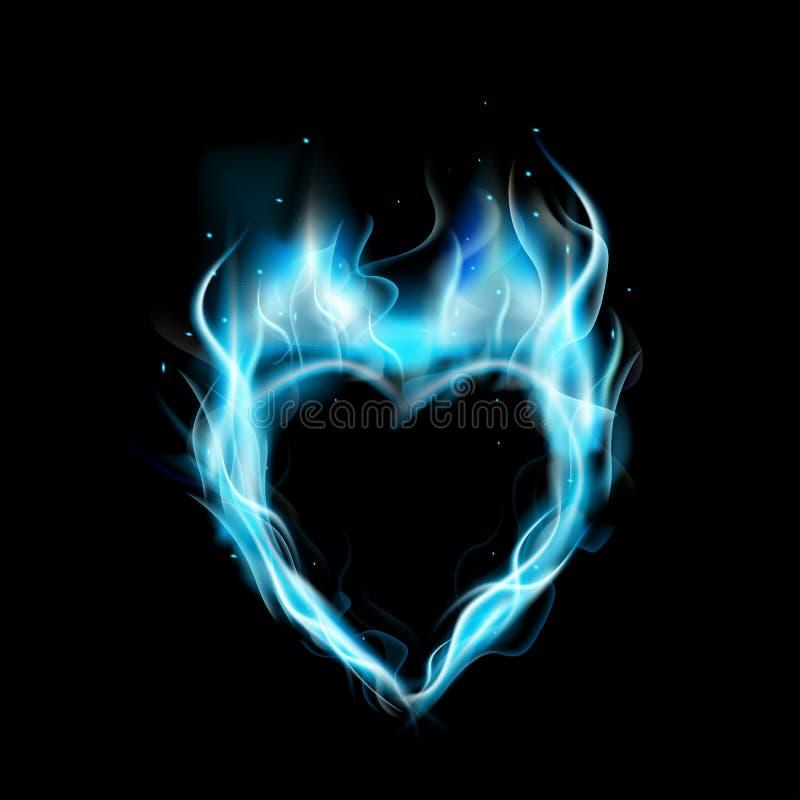 Symbol av förälskelseblåttcirkeln av brand med svart bakgrund royaltyfri illustrationer