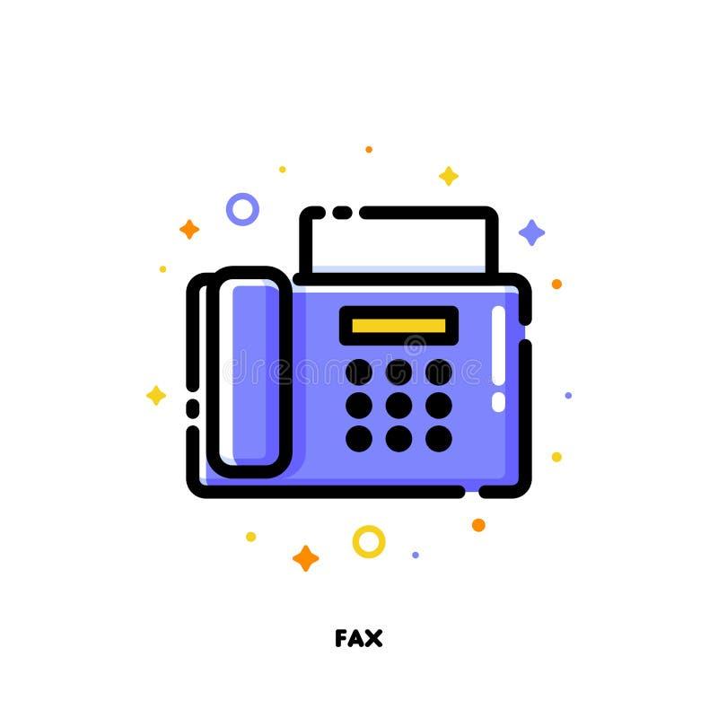 Symbol av faxet för begrepp för kontorsarbete Lägenhet fylld översiktsstil stock illustrationer