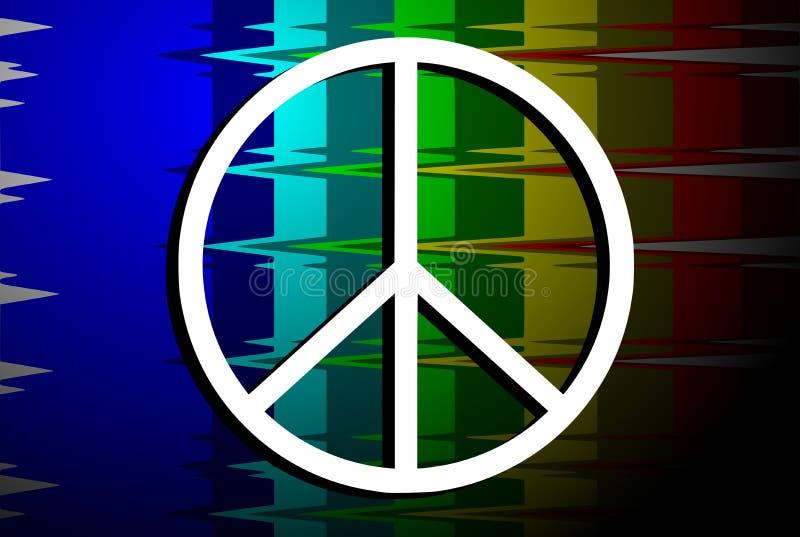 Symbol av fred på regnbågeflagga royaltyfri illustrationer