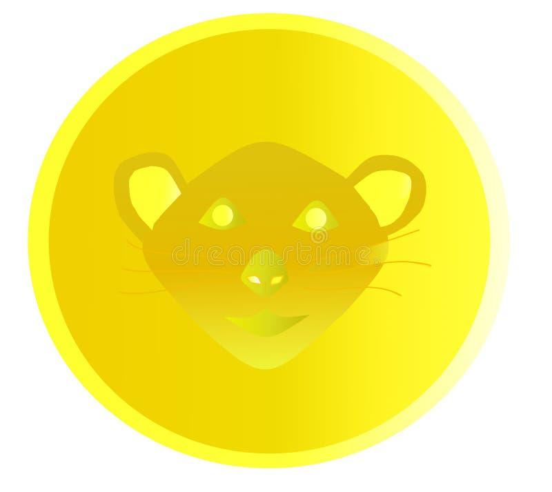 Symbol av 2020 Guld- mynt med bilden av att tjalla stock illustrationer