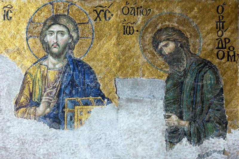 Symbol av Jesus Christ och St John i moskén Hagia Sofi royaltyfria foton