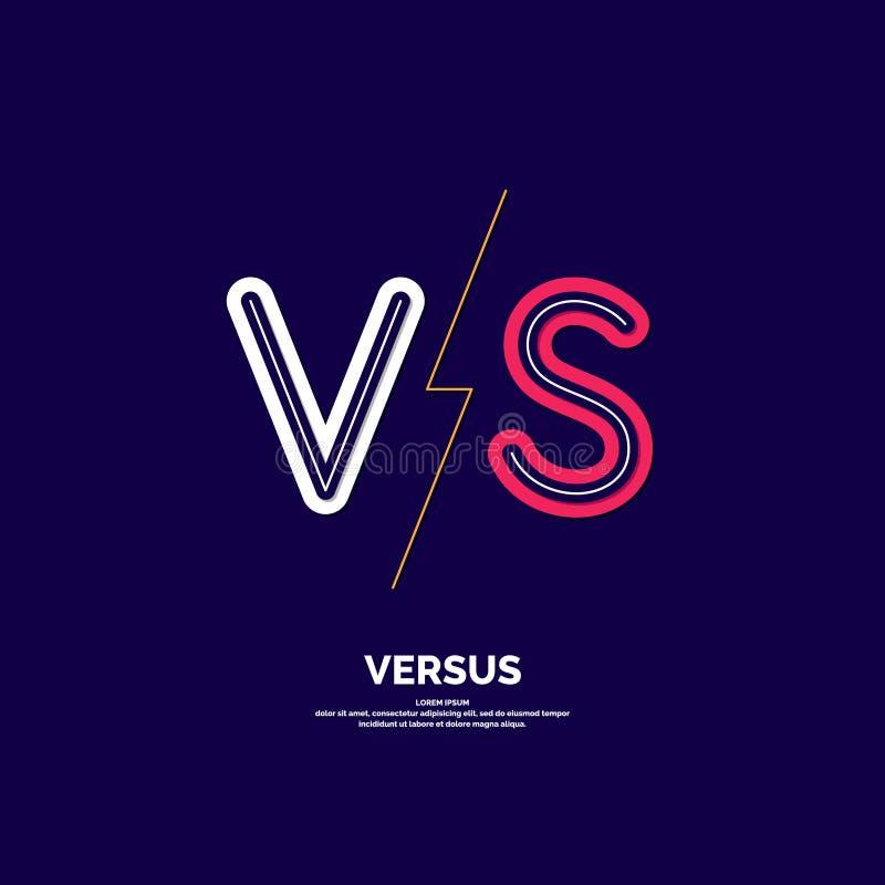 Symbol av konfrontation VS Modernt illustration och kontra emblem för vektor vektor illustrationer