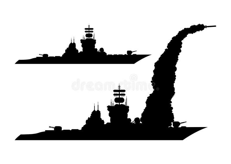 Symbol av krigsskeppet stock illustrationer