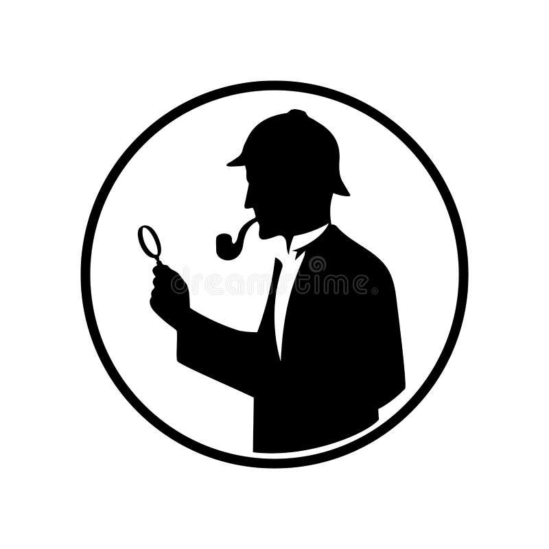 Symbol av kriminalaren med ett förstoringsglas stock illustrationer