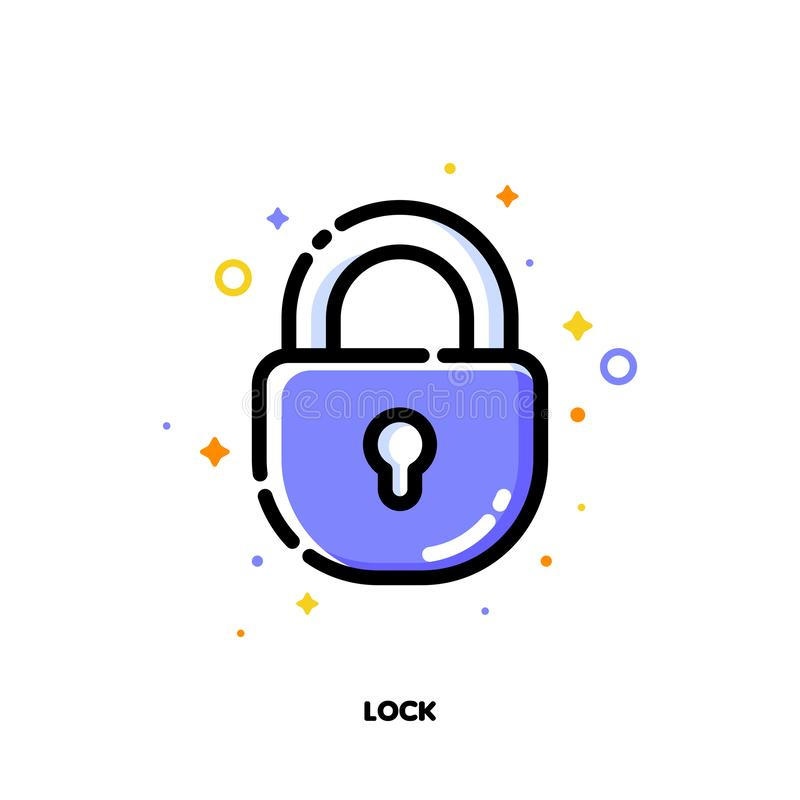Symbol av låset som symboliserar säkert skydd för SEO-begrepp L?genhet fylld ?versiktsstil PIXEL perfekt 64x64 royaltyfri illustrationer