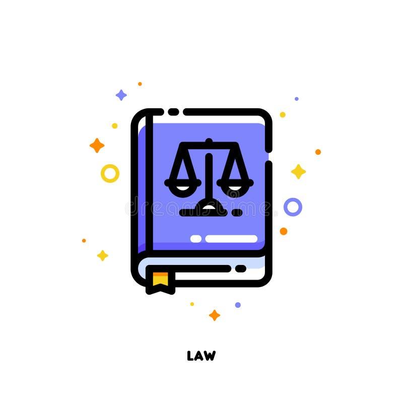 Symbol av lagboken för rättvisabegrepp Lägenhet fylld översiktsstil royaltyfri illustrationer