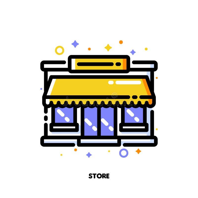 Symbol av lagerfasad- eller marknadsyttersida för att shoppa och återförsäljnings- begrepp L?genhet fylld ?versiktsstil PIXEL per royaltyfri illustrationer