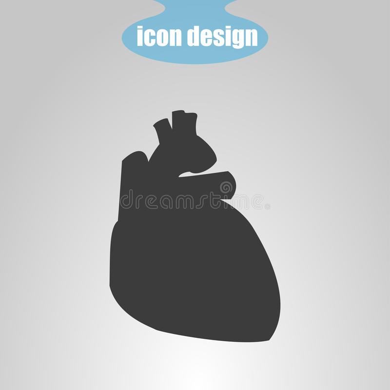 Symbol av mänsklig hjärta på en grå bakgrund också vektor för coreldrawillustration vektor illustrationer