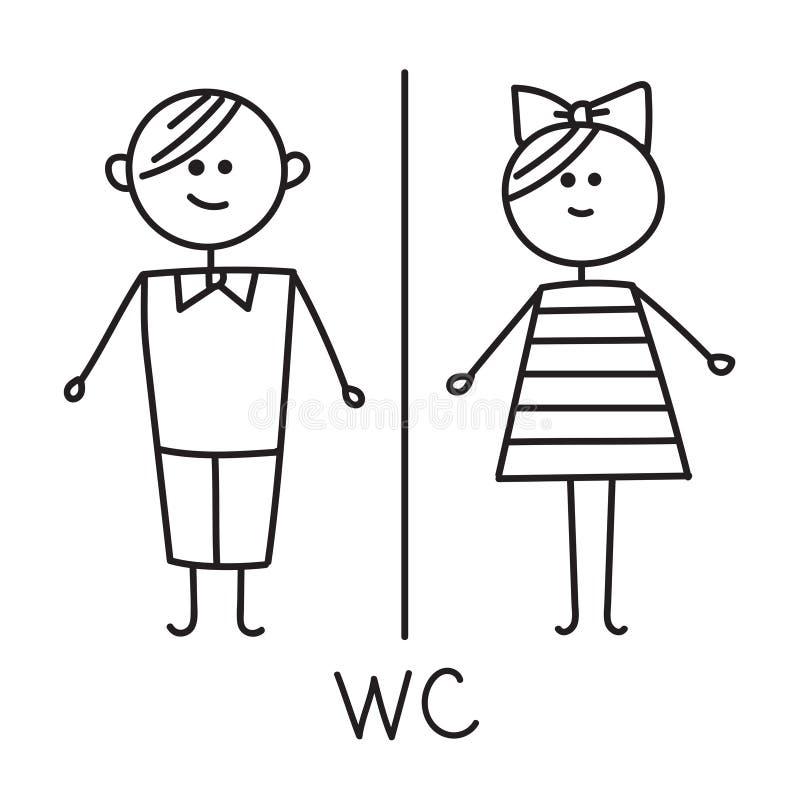 symbol av mannen, kvinna, pojke, flicka Symbol för toalettdörrplatta Wc-symbol Badrumplatta Man- och kvinnaWC-tecken för toalett vektor illustrationer