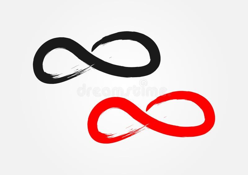 Symbol av oändligheten Trasig borste, grunge svart red stock illustrationer