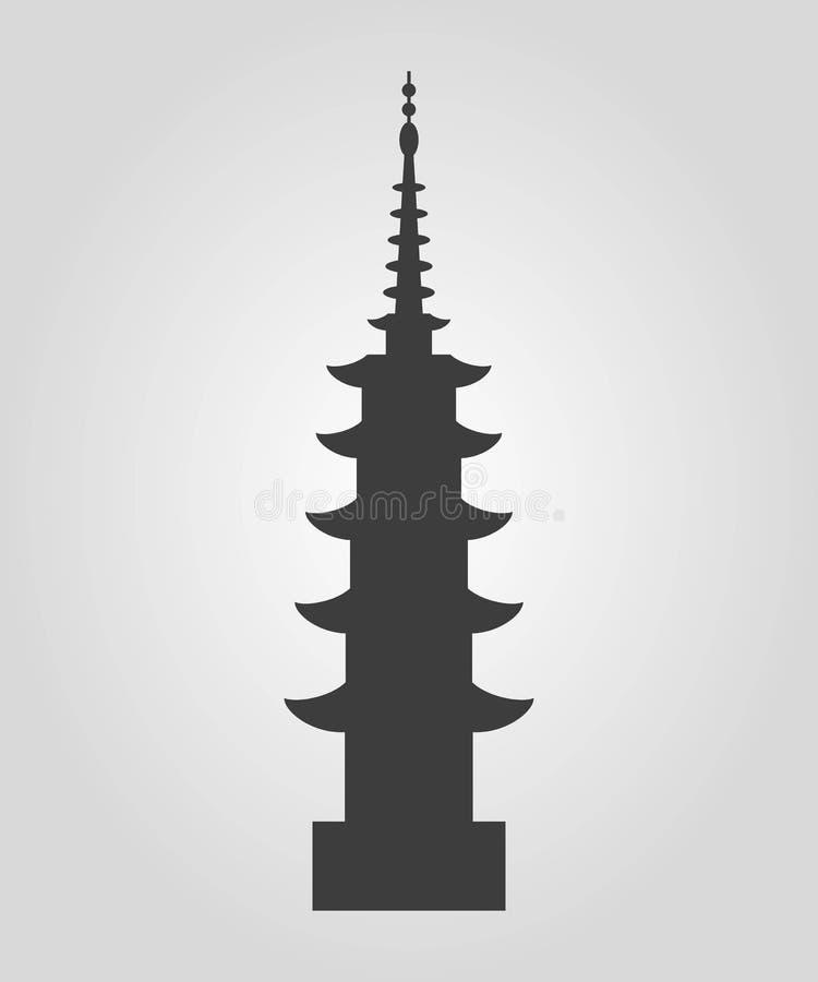 Symbol av pagodkonturn på den vita bakgrunden royaltyfri illustrationer