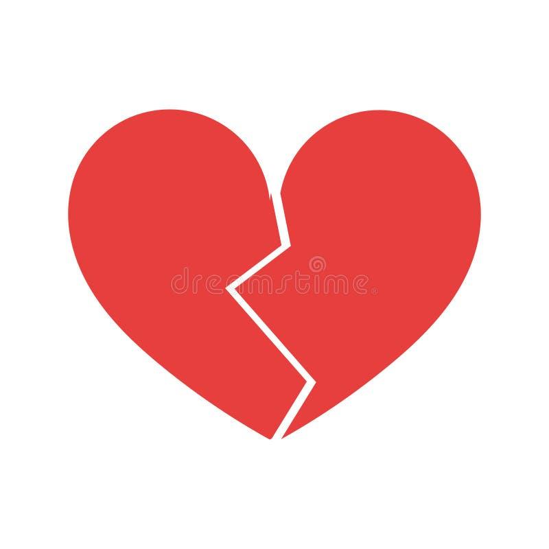 Symbol av röd bruten hjärta stock illustrationer